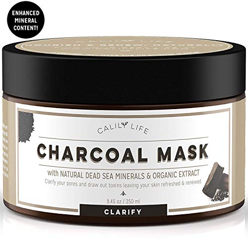 Calily Life Organic Deep Cleansing Activated Charcoal Mask with Dead Sea Minerals, 8. 45 Oz. - Natural Wash-off Treatment - Minimizes and Cleanses Pores, Hydrates and Revitalizes Skin [ENHANCED]