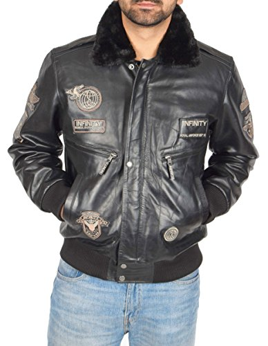 Force Aviator Air Collar pelle da Duty uomo nera in Luca Giacca pilota Bomber Heavy Insignia x7pzqqg