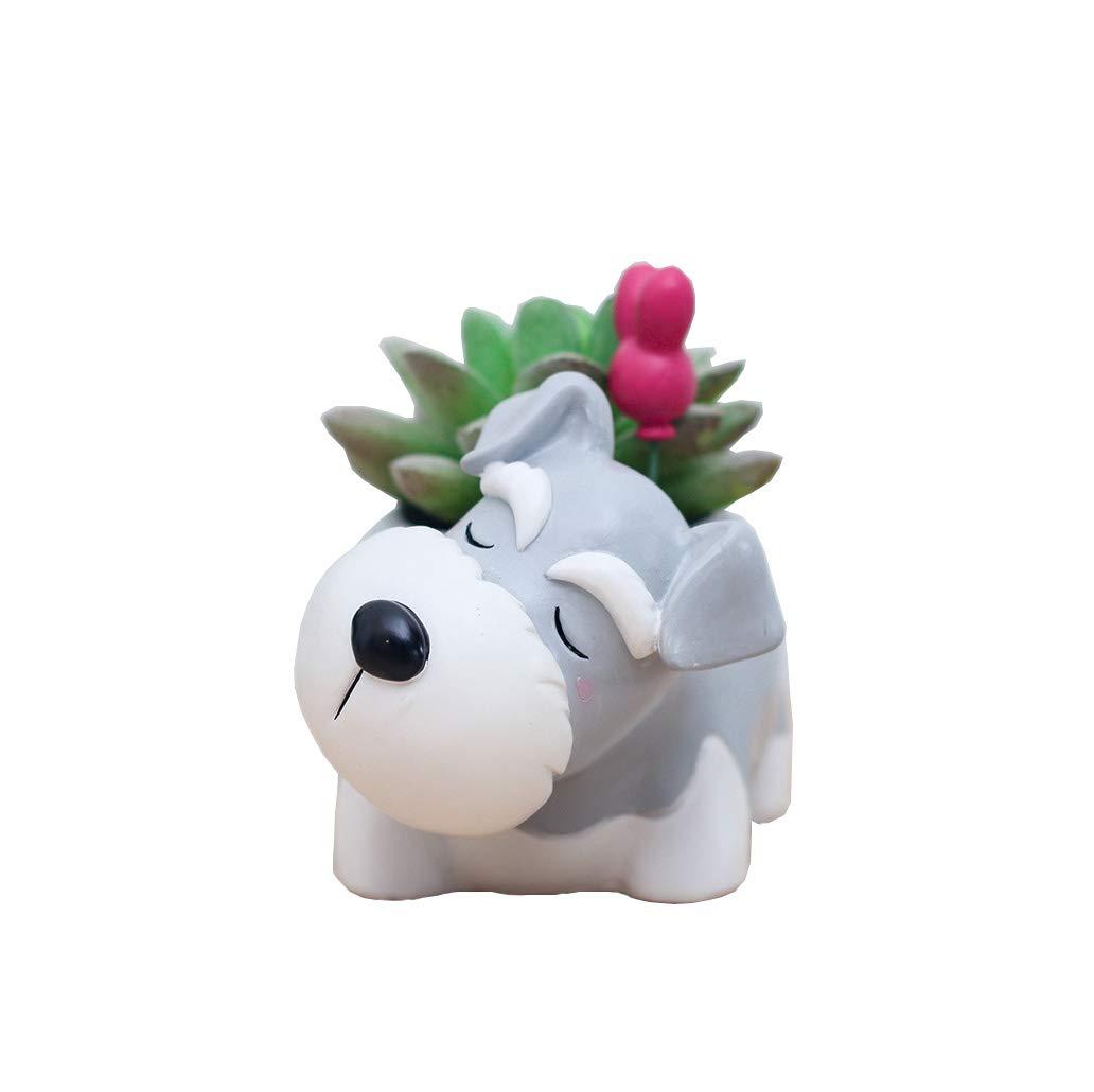 Youfui Home Decor Pot, Animal Succulent Planter Flowerpot for Home Office Desk Decoration Sleep Schnauzer