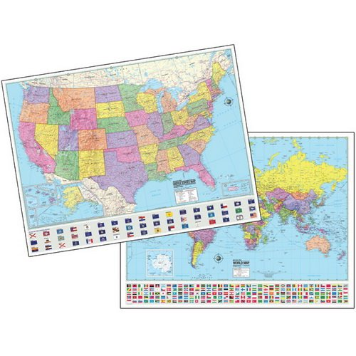 Advanced US/World Political Laminated Rolled Map