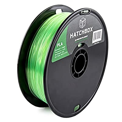 HATCHBOX PLA 3D Printer Filament, Dimensional Accuracy +/- 0.03 mm, 1 kg Spool, 1.75 mm, Transparent Green