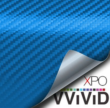 VViViD XPO Electric Blue 3D Carbon Fiber Vinyl Wrap Roll with Air Release Technology (1ft x 5ft)