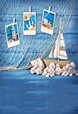 Leowefowa 3X5FT Seaside Backdrop Sailboat Background for Photography Lighthouse Anchor Starfish Shells Retro Fishing Net Grunge Blue Painted Stripes Wood Deck Backdrops Kids Boys Summer Photo Props