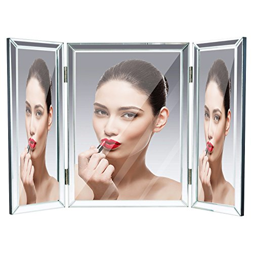 """Houseables Trifold Vanity Mirror, 3 Way, 31"""" x 1"""" x 21"""", Single, Tri Fold, Big Mirrors For Tables, Bedrooms, Bathroom, Makeup, Tabletop, Centerpiece, Three Part, With Beveled Edges by Houseables (Image #1)"""