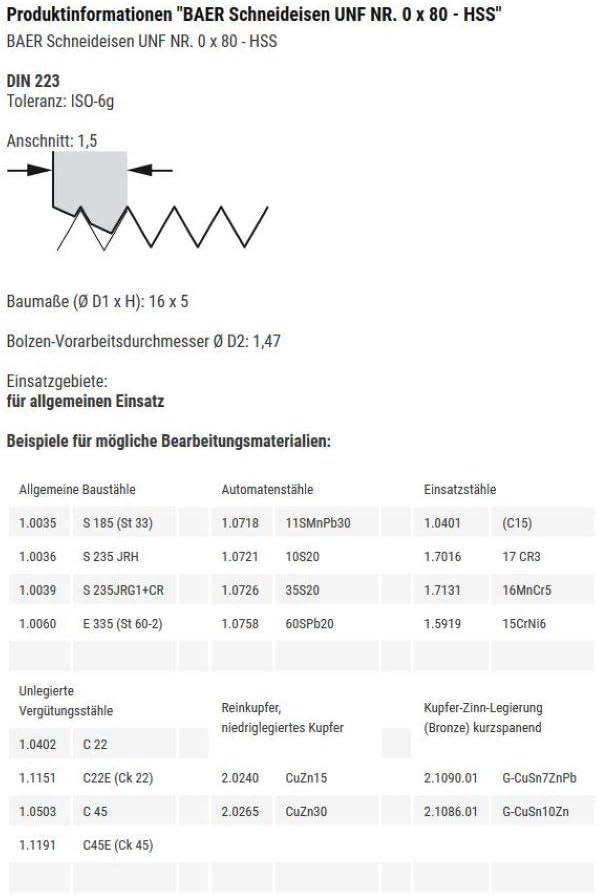 0 x 80 HSS Gewindeschneider Au/ßengewindeschneider Schneideisen UNF NR
