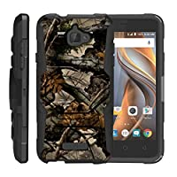 TurtleArmor | Coolpad Case | 3622A Case [Octo Guard] Dual Layer Case Holster Belt Clip Sturdy Kickstand Cover - Tree Leaves Camouflage