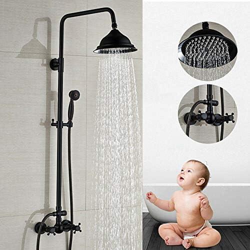 montaje en pared con alcachofa de ducha WUPYI2018 alcachofa de mano Sistema de ducha retro negro barra de ducha ajustable