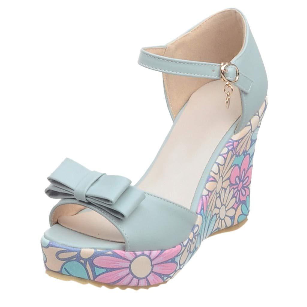 refulgence Women Hight Platform Sandals, Bow WedgeBuckle Summer Casual Sandals(Blue,US=8.5 by refulgence