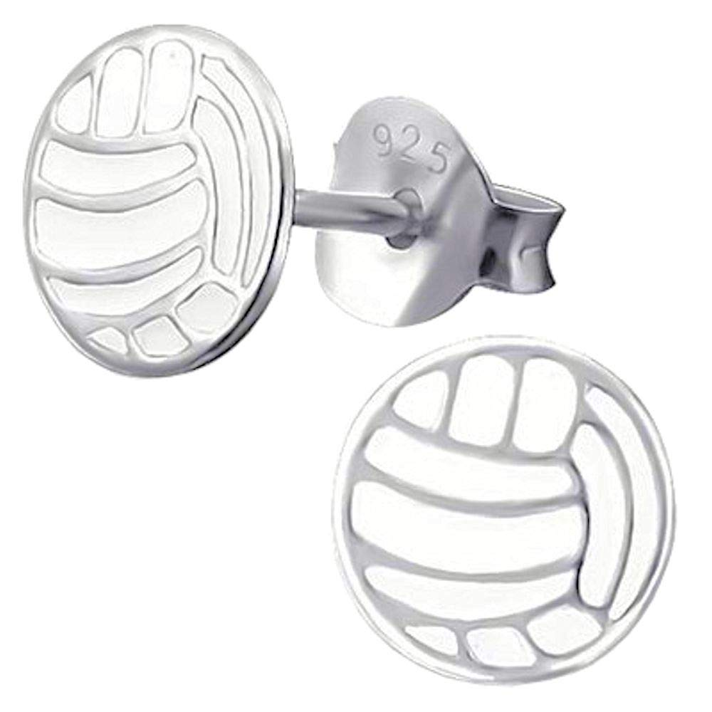 So Chic Joyas© pendientes niño balón Volley Ball Blanco Plata 925 ...