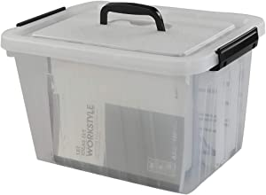 Anbers 12 Quart Clear Plastic Bins with Lid, Latching Box with Handles