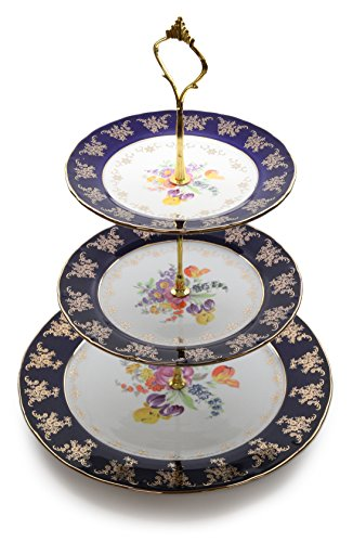 Royalty Porcelain 3-Tier Round Gold-plated Cake and Cupcake Stand, White Dessert Party Display Cake Set with Cobalt Blue Pattern (Plate Cake Royalty)