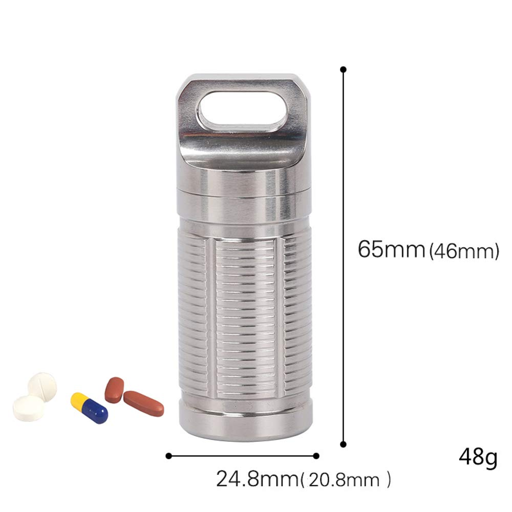 Waterproof Titanium Pill Fob Holder, Mini Portable EDC Keychain Daily Pill Case, Small Pocket Pill Container - for Outdoor Travel Daily Aspirin Nitro Camping Emergency Essentials,Silver by Wing Enterprises