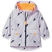 Carter's Baby Boys His Favorite Rainslicker Rain Jacket, Lightening Bolt Gray, 18M