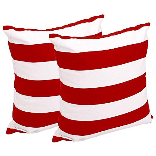 BININBOX Set of 2, Soft Cotton Canvas Stripe Pattern Pillowcase Pillow Covers, 18 Inch X 18 Inch,Multiple Colors Available (Red White, 18''X (Red Stripe Pillowcase Set)