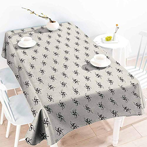 - Willsd Resistant Table Cover,Pinwheel Hand Drawn Pinwheels Childhood Toys of Old Times Cute Kids Doodle Pattern,High-end Durable Creative Home,W52x70L Black and Ivory