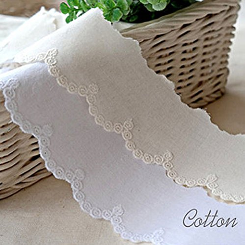 14Yds Broderie Anglaise cotton eyelet lace trim 4.3cm YH1464 (Natural Ivory) (Natural Eyelet)