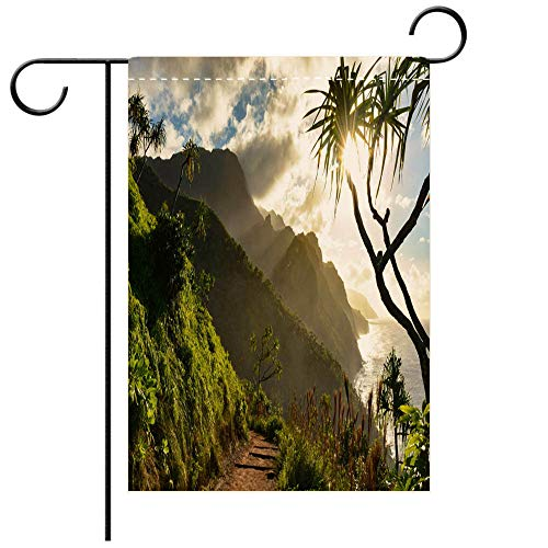 (BEICICI Custom Personalized Garden Flag Outdoor Flag Beautiful Na Pali Coast Sunset from The Kalalau Trail on Kauais North Shore Best for Party Yard and Home Outdoor Decor)