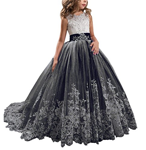 KSDN Wedding Flower Girls Dresses Princess Gowns First Communion Pageant Gown(US 10 Black) -