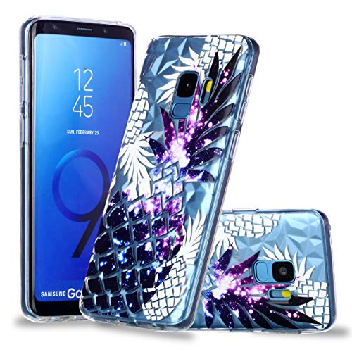 Galaxy S9 Case, for [S9 ], MerKuyom Lightweight [Diamonds Clear Crystal Transparent] [Slim-Fit] Flexible Gel Soft TPU Case Skin Cover for Samsung Galaxy S9 5.8-inch, W/Stylus (Purple Pineapple)