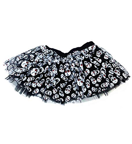 Mozlly Black & White Stretchable Pull On Tutu for Women Decorated w/ Skulls One Size Fits Most Adult Ballet Costume Princess Fairy Halloween Outfit Comfortable Tutu Skirt w/ Garter for -