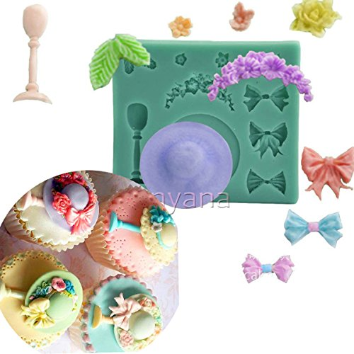 Anyana mini hat Baking Molds ribbon Silicone Fondant molds wine glasses Cake Decorating Tools Gumpaste cupcake topper decorations flower vine resin Clay Chocolate Candy Molds Non stick easy to use (Flower Basket Mold)