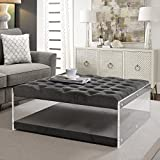 Inspired Home Audrey Velvet Modern Contemporary Oversized Button Tufted Clear Acrylic Sides Ottoman, Grey