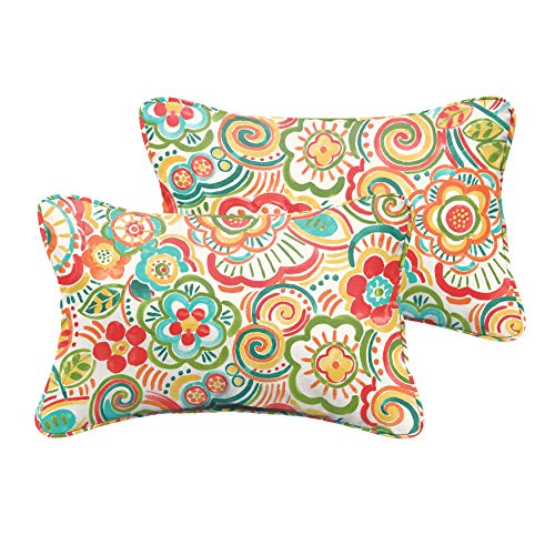 Humble and Haute Selena Coral and Orange Rio Floral Indoor/Outdoor Corded Lumbar Pillows (Set of 2) 12 x 24