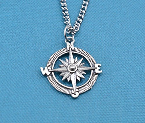 Teen Boy or Mens compass necklace in antique silver pewter on a 22 stainless steel curb chain. Compass necklace. Gift for Teen. .