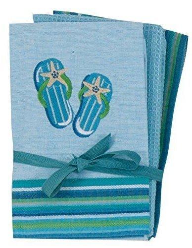 kay dee designs kitchen towels. Flip Flop Kay Dee Designs 3 Pc Kitchen Towel Cast Iron Palm Tree Hook  Bundle 4 Set