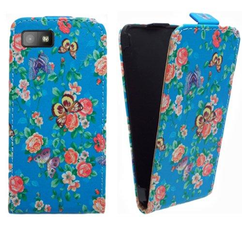 Xtra-Funky Exclusivo Cuero estilo del tirón cubierta de la caja de la carpeta con estilo hermosa flor azul florales y mariposas Diseños para BlackBerry Z10 - Diseño B28 B28