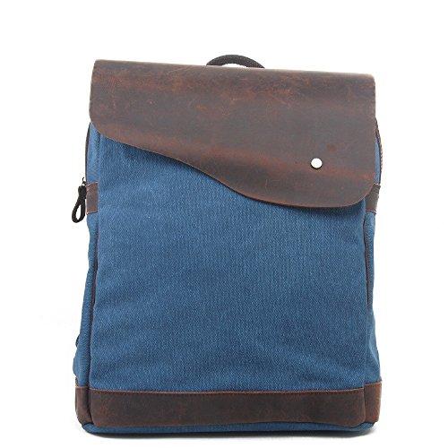 Mochila de lona de algodón exterior vintage, Viajes Trekking Camping Mochila Pack, Gran mochila casual, Cera impermeable, impermeable y transpirable, resistente al desgaste College poliéster estilo po blue