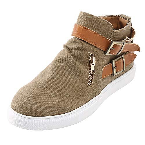 POHOK Vintage Women Flat Bottom Round Zipper Canvas Casual Zipper Shoes(36,Brown) ()