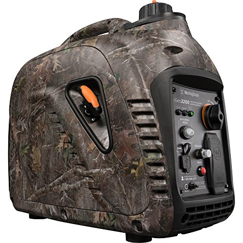 Westinghouse iGen2200 Super Quiet Portable Inverter Generator - TrueTimber Kanati Camouflage - 1800 Rated Watts and 2200 Peak Watts - Gas Powered - CARB (2200 Cart)