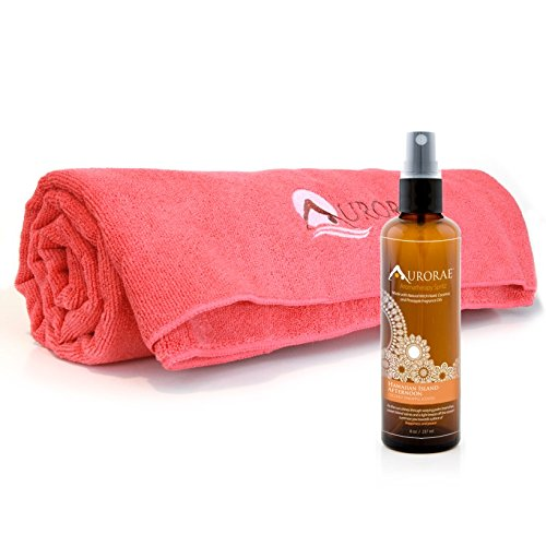 Aurorae Serenity Gift Set - Microfiber Beach Towel with 8 oz Coconut Pineapple Aromatherapy Spritz (Cayman Island Coral) ()