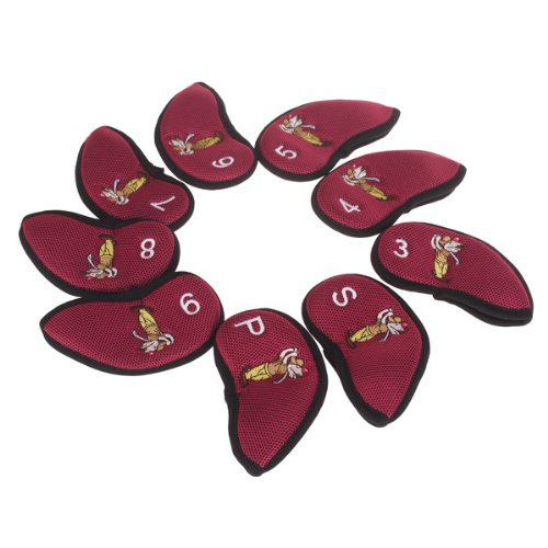 9Pcs Golf Club Iron Putter Head Cover Set Nylon Protection Case - Red