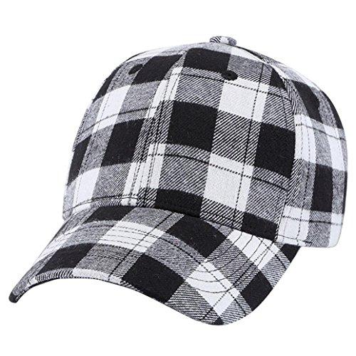 Men Women Plaid Baseball Caps Snapback Hat Hip Hop Adjustable Fashion Street Cap -