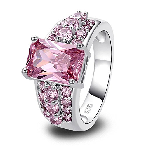 Psiroy Women's 925 Sterling Silver 5cttw Pink Topaz Filled (Sterling Silver Pink Stone Ring)