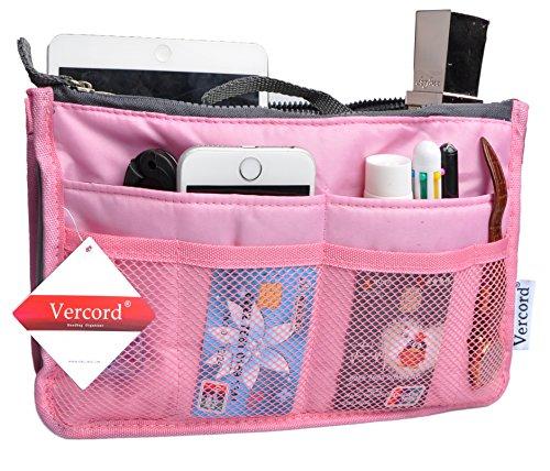 (Vercor Purse Organizer Insert Handbag Organizer Bag in Bag 13 Pockets Pink Small)