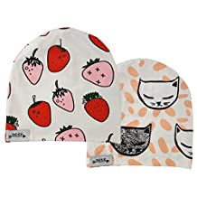 Cotton Baby Beanie Hat for Girls and Boys, Toddler, Children, Kids - Set of Two
