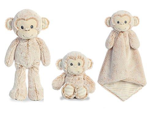 Bundle of 3 Aurora Marlow Monkey Lovie, 11 Plush and 6.5 Plush Rattle (Monkey Aurora Babies Plush)