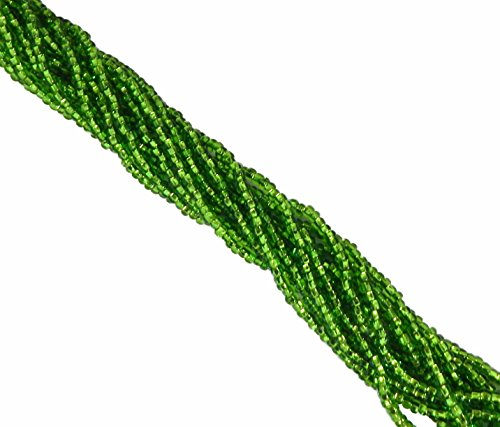 Light Green Silver Lined Czech 6/0 Seed Bead on Loose Strung 6 String Hank Approx 900 Beads
