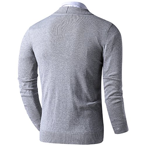 LTIFONE Mens Slim Fit Soft Cable Knit Shawl Collar Button Down Cardigan Sweater Ribbing Edge(Grey,M) by LTIFONE (Image #1)