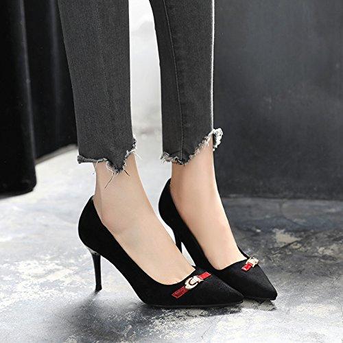 GAOLIM Los Zapatos De Tacón Alto En La Primavera De Mujeres Negras Con Punta Fina Solo Zapatos Zapatos De Mujer Transpirable Negro