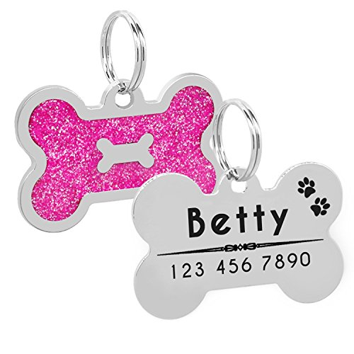 Pink Bone Glitter (Glitter Personalized Dog Id Tag Customized Bone Shape Name Tag Plate Pet Dog Collar Decoration,Pink)