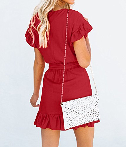Waist Wrap Casual Dress Womens Ruffle Party Red Short Dresses Sleeve Mini Belts Youxiua Empire Y5zq7
