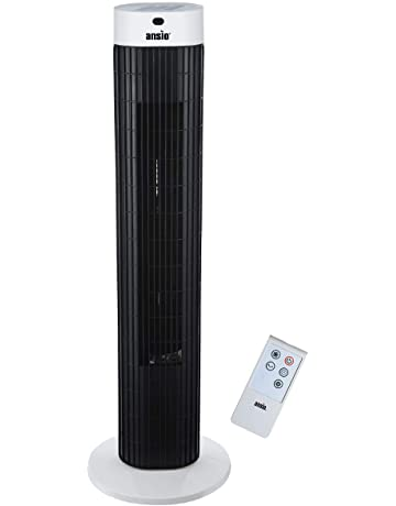 ANSIO Tower Fan 30-inch with Remote For Home and Office, 7.5 Hour Timer, 3 Speed Oscillating Fan with 2 Year Warranty - Black & White