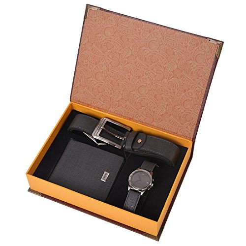 Souarts Mens Artificial Leather Quartz Analog Wrist Watch Belt Wallet Gift Set Dark Blue