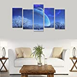 Modern Landscape Art Winter snow tree sky evening star mood Unique Canvas Print Home Bedroom Personality Mural Decoration 5 Piece Canvas painting (No Frame)
