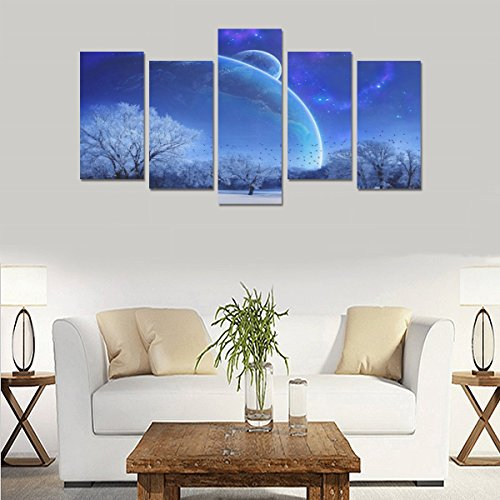 Modern Landscape Art Winter snow tree sky evening star mood Unique Canvas Print Home Bedroom Personality Mural Decoration 5 Piece Canvas painting (No Frame) by sentufuzhuang Canvas Printing
