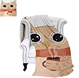 owl coffee cup cozy - Custom Design Cozy Flannel Blanket Cute Owl with A Cup of Coffee and Scarf Student Midterms Humor Illustration Lightweight Blanket 50